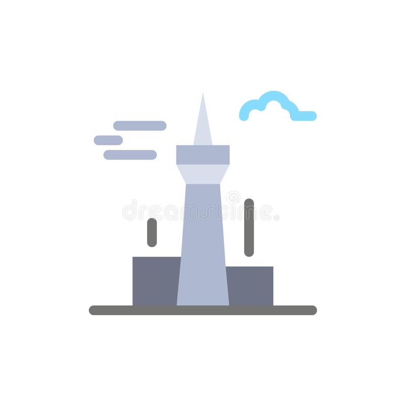 Architecture and City, Buildings, Canada, Tower, Landmark  Flat Color Icon. Vector icon banner Template royalty free illustration