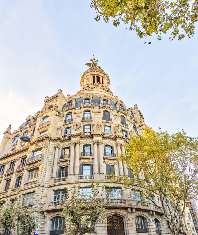 Architecture of the City center - Plaza Catalonia Placa de Catalunya on November 11, 2016 Barcelona, SPAIN royalty free stock photo