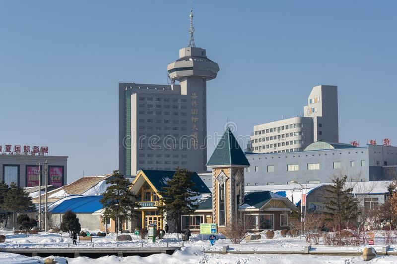 The architecture of the city of Hunchun. stock photos