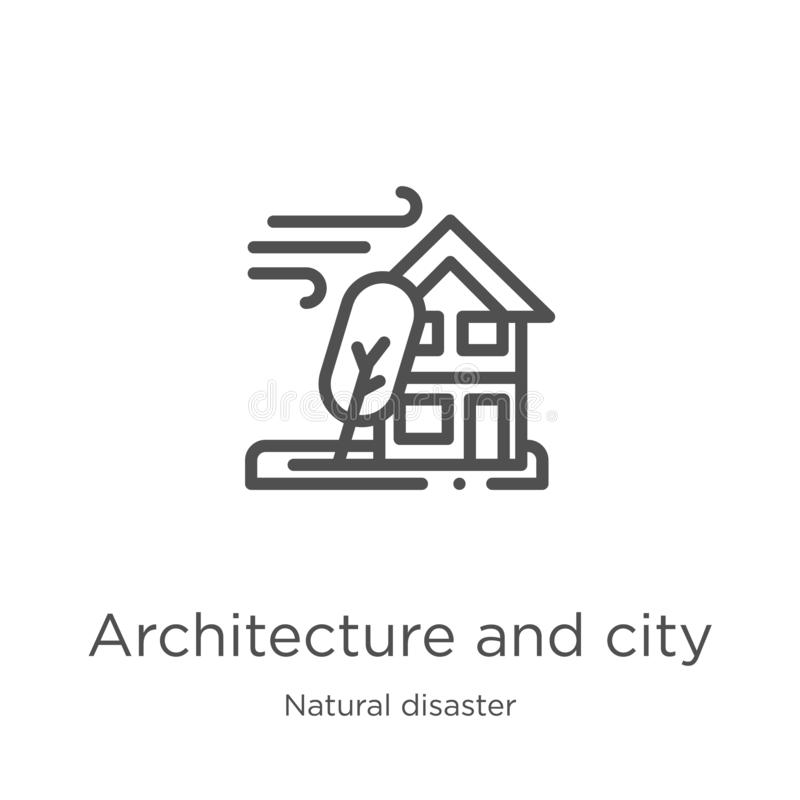 architecture and city icon vector from natural disaster collection. Thin line architecture and city outline icon vector royalty free illustration