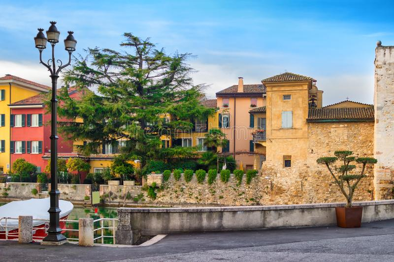 Architecture and cityscape of Sirmione, Garda lake. Lombardy, Italy stock image