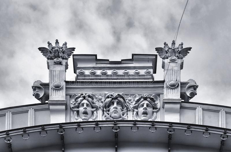 Architecture and classic ornaments on building on the streets of Riga, Latvia stock images