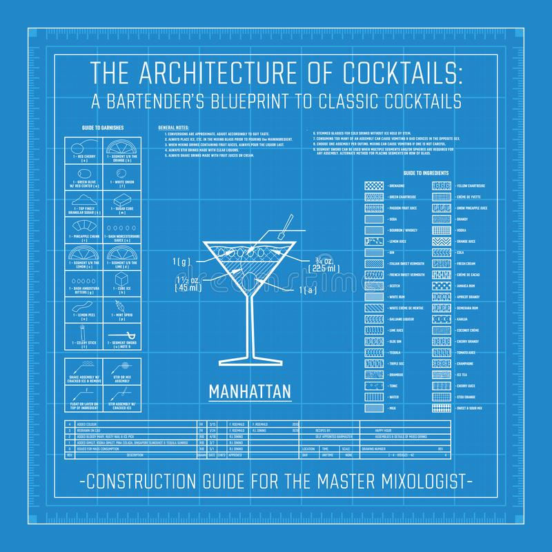 Architecture of Cocktails A Bartender`s Blueprint to Classic Cocktails. Collection Grid Master Mixologist for Mixology stock illustration