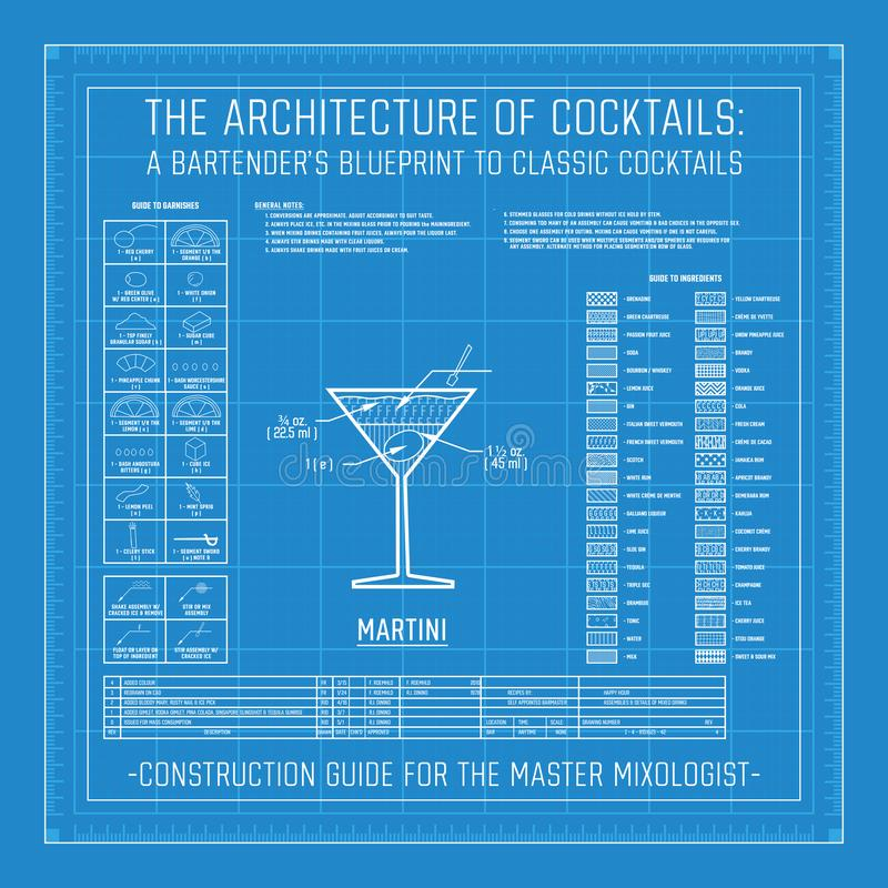 Architecture of Cocktails A Bartender`s Blueprint to Classic Cocktails. Collection Grid Master Mixologist for Mixology vector illustration