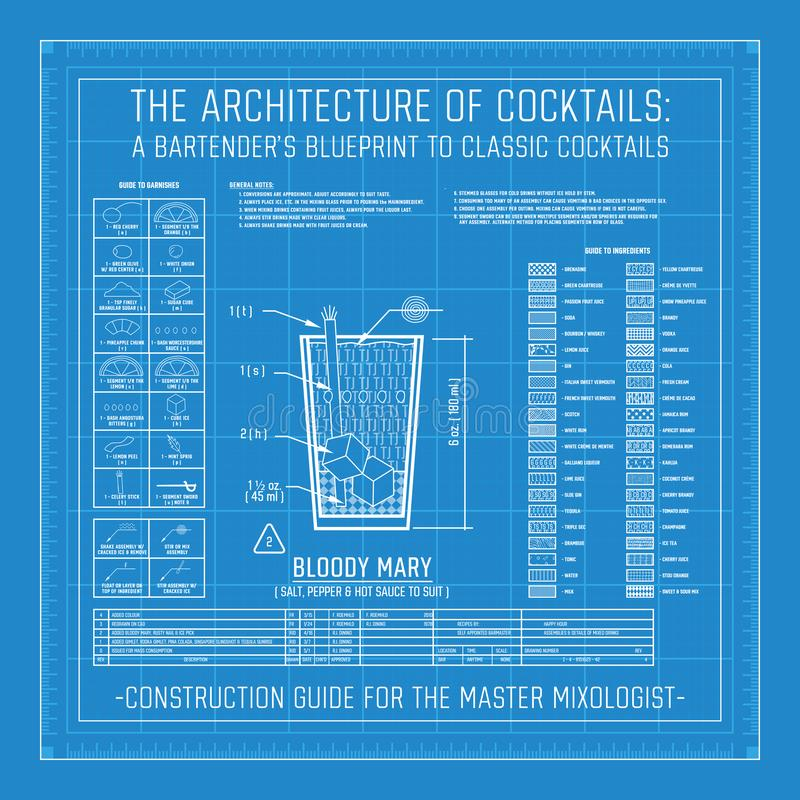 Architecture of Cocktails A Bartender`s Blueprint to Classic Cocktails. Collection Grid Master Mixologist for Mixology royalty free illustration