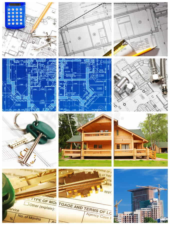 Architecture collage. Collage made with architecture and construction related images stock image