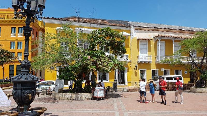 Architecture coloniale au centre de Carthagène de Indias photos stock