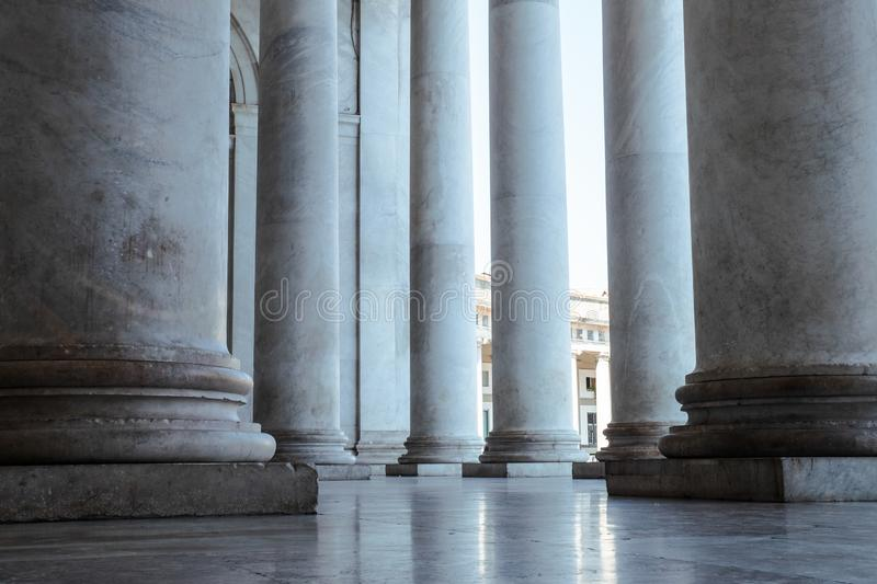 Architecture Columns of Cathedral church. Massive Ancient Style Historical Church Details. Europe royalty free stock photography