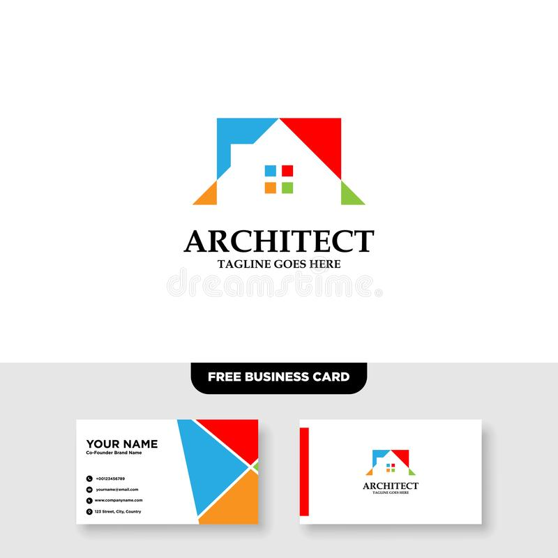 Architecture Company, construction, architect, vector logo template - Vector, Free Business Card royalty free stock photography