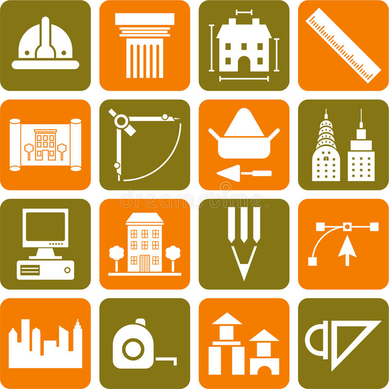 Architecture&constrcution icons. This is a collection of icons related with architecture, contruction, buildings and tools royalty free illustration