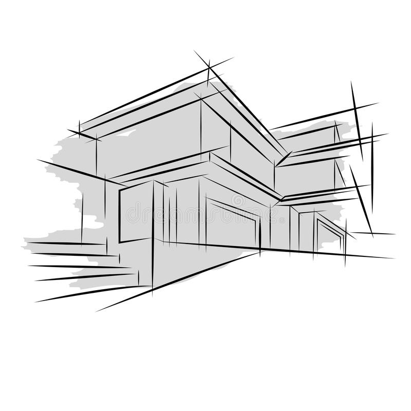 Architecture croquis dessin du b timent ville illustration for Dessin batiment 3d
