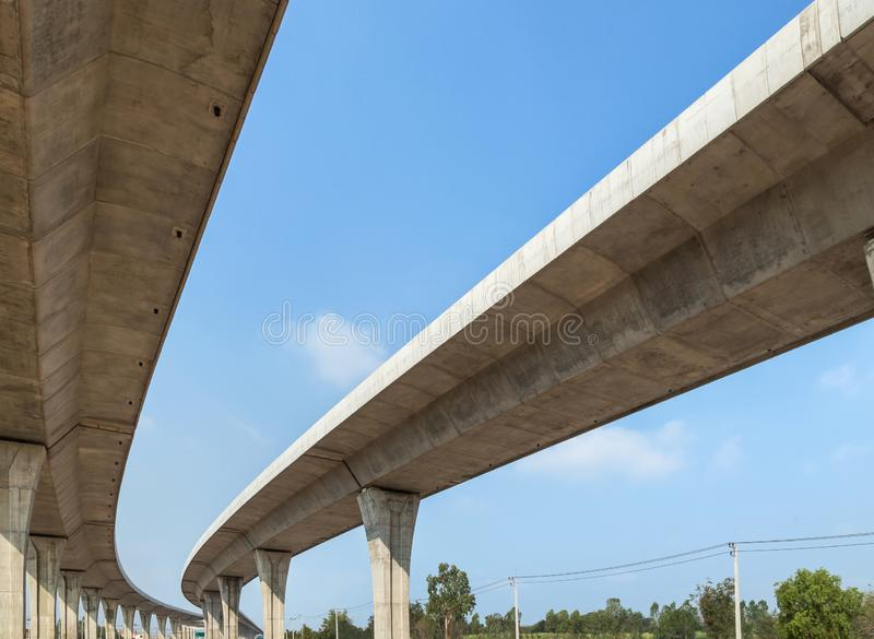 Architecture curve intercity motorway Nakhon Ratchasima Bangpa In to Korat MotorWay in Thailand  during construction royalty free stock images