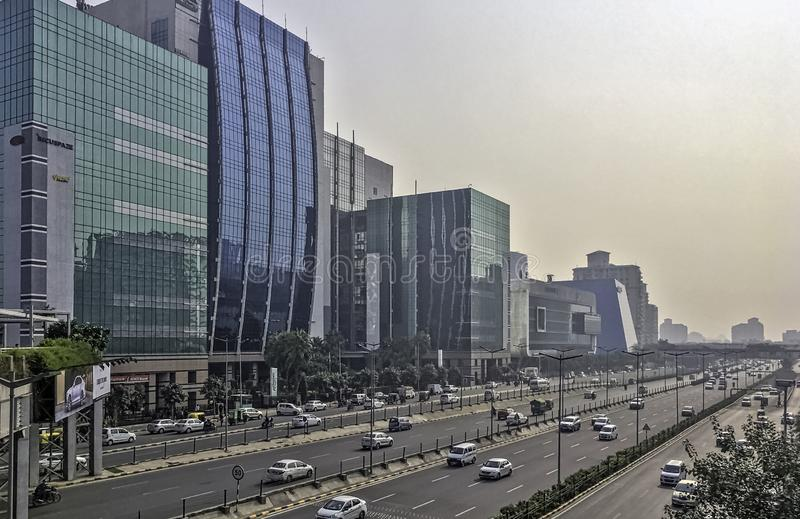 Architecture of Cyber City / Cyberhub in Gurgaon, New Delhi, India. Architecture of Cyber City / Cyberhub in Gurgaon / Gurugram, New Delhi, India stock photos