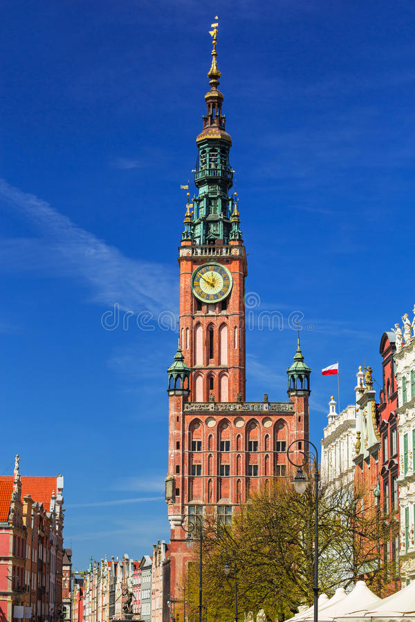 Architecture d'hôtel de ville historique à Danzig images libres de droits