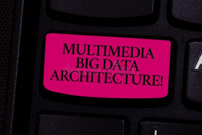 Architecture de Big Data de multimédia d'écriture des textes d'écriture Concept signifiant le réseau de technologie de documentat photos libres de droits