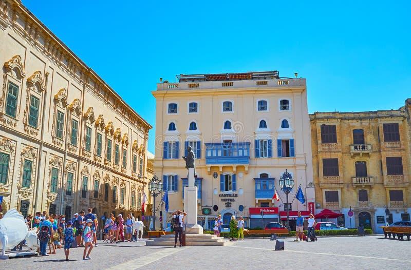 Architecture de Castille Place, La Valette, Malte image stock