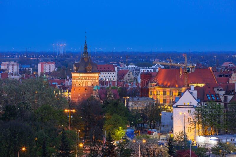 Architecture de centre de la ville de Danzig la nuit photos stock
