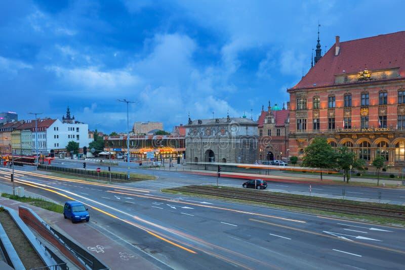 Architecture de la vieille ville à Danzig de mail de forum, Pologne image libre de droits