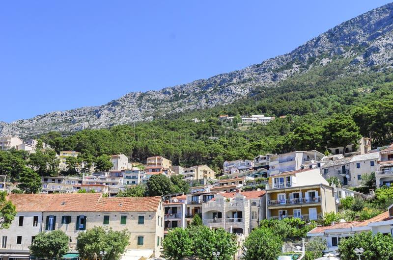 Architecture de la ville de Brela, Croatie photo stock