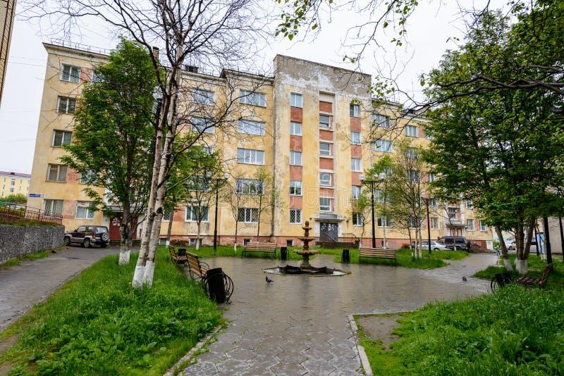 Architecture de Magada, Fédération de Russie images stock
