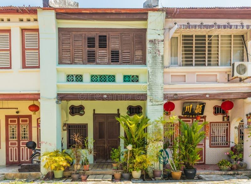 Architecture de shophouse de chinois traditionnel en George Town Malaysia images stock