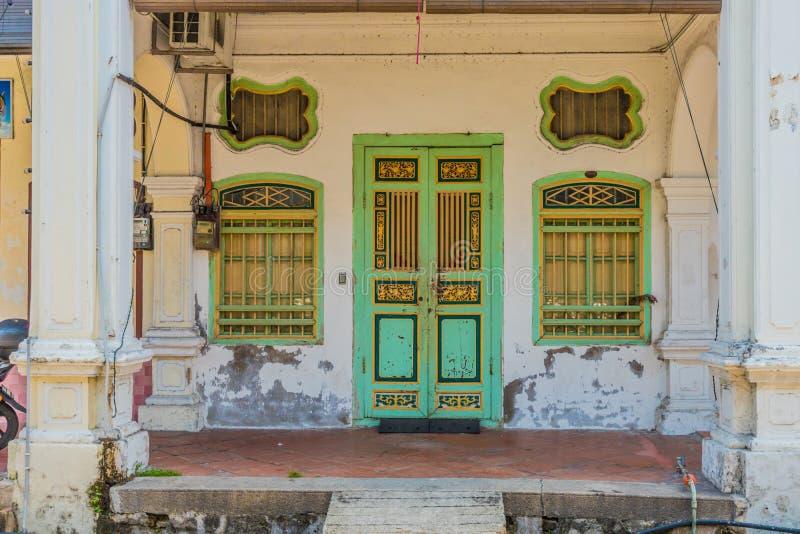 Architecture de shophouse de chinois traditionnel en George Town Malaysia photographie stock