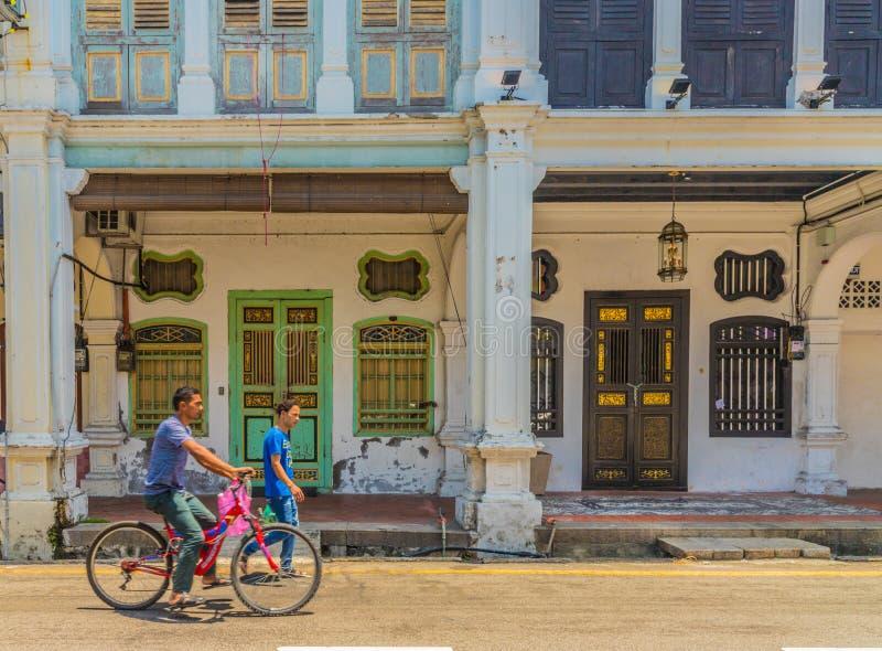 Architecture de shophouse de chinois traditionnel en George Town Malaysia photos stock