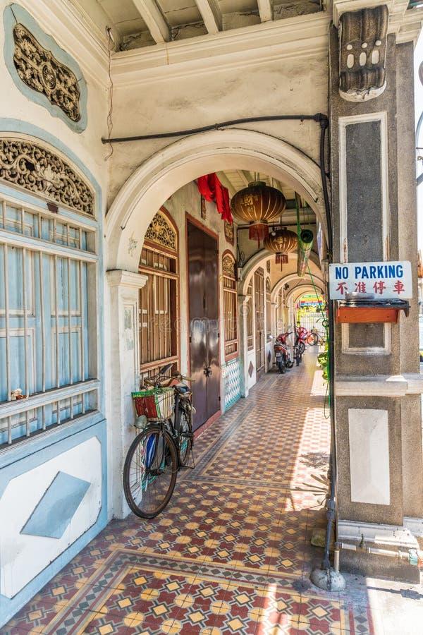 Architecture de shophouse de chinois traditionnel en George Town Malaysia photographie stock libre de droits