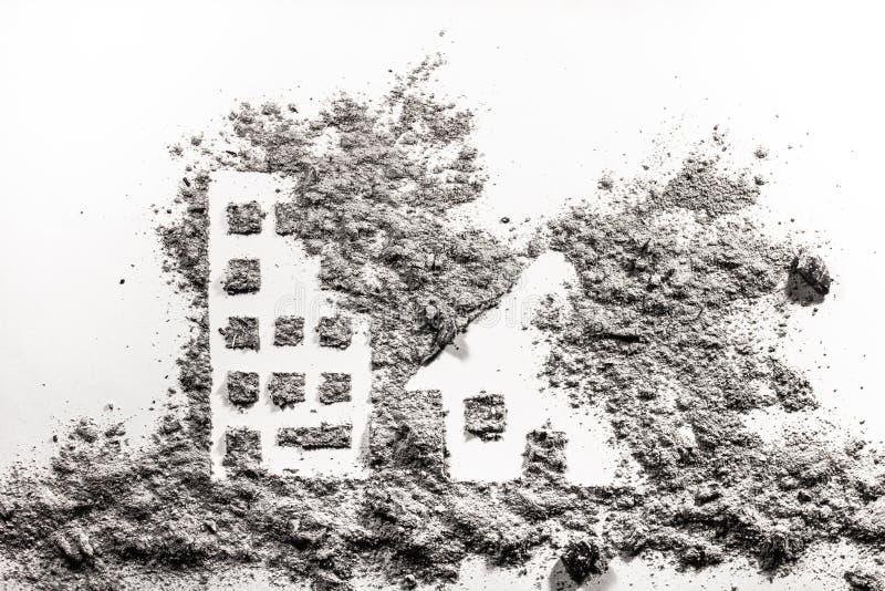 Architecture de ville sous le dessin de silhouette de bombardement photos stock