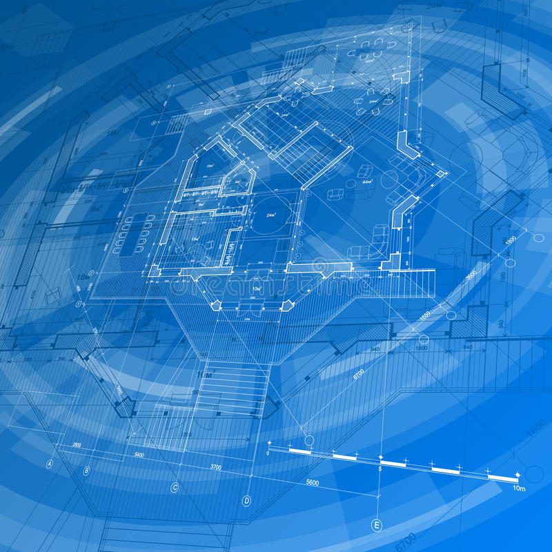 Architecture design: blueprint house plan. & blue technology radial background - vector illustration vector illustration