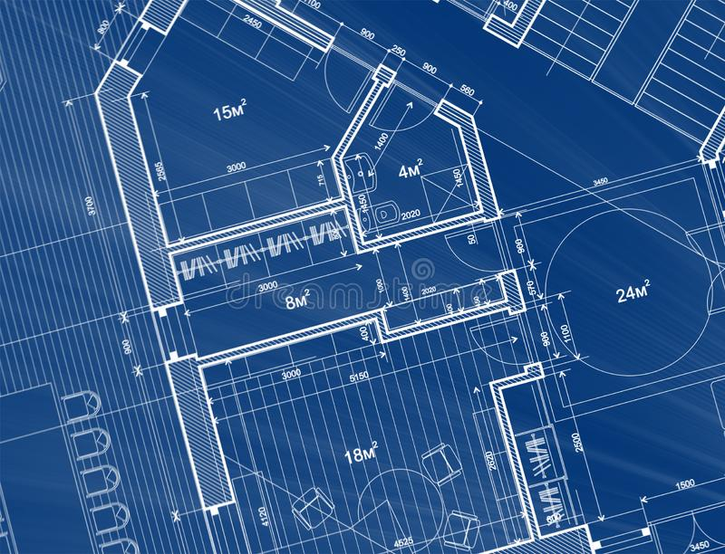 Architecture design: blueprint plan - illustration of a plan mod. Ern residential building / technology, industry, business concept illustration: real estate stock photography