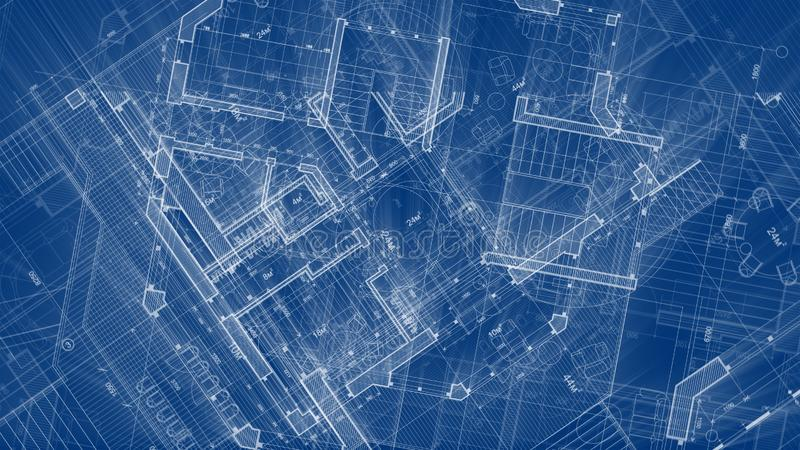 Architecture design: blueprint plan - illustration of a plan. Modern residential building / technology, industry, business concept illustration: real estate stock images