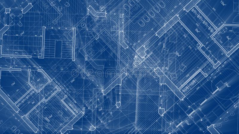 Architecture design: blueprint plan - illustration of a plan. Modern residential building / technology, industry, business concept illustration: real estate royalty free stock images