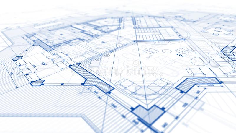 Architecture design: blueprint plan - illustration of a plan mod. Ern residential building / technology, industry, business concept illustration: real estate royalty free stock images