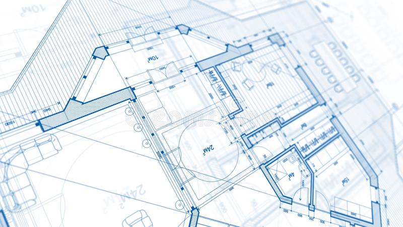 Architecture design: blueprint plan - illustration of a plan mod. Ern residential building / technology, industry, business concept illustration: real estate stock photo