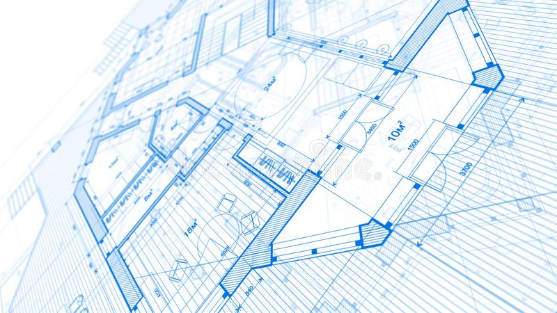 Architecture design: blueprint plan - illustration of a plan mod. Ern residential building / technology, industry, business concept illustration: real estate royalty free stock photography