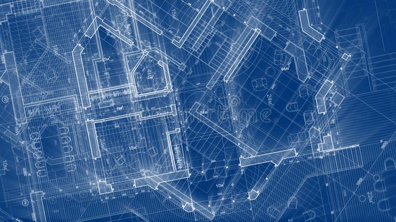 Architecture design: blueprint plan - illustration of a plan. Modern residential building / technology, industry, business concept illustration: real estate royalty free stock photography