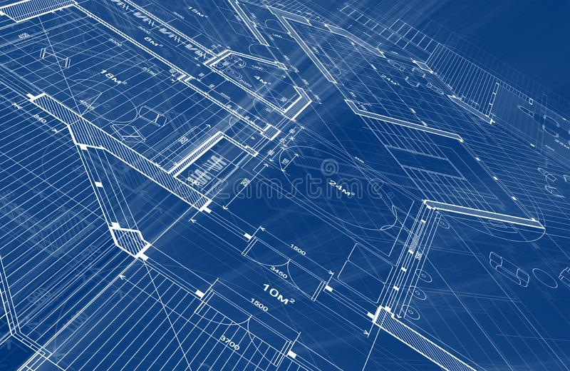 Architecture design: blueprint plan - illustration of a plan. Modern residential building / technology, industry, business concept illustration: real estate stock image