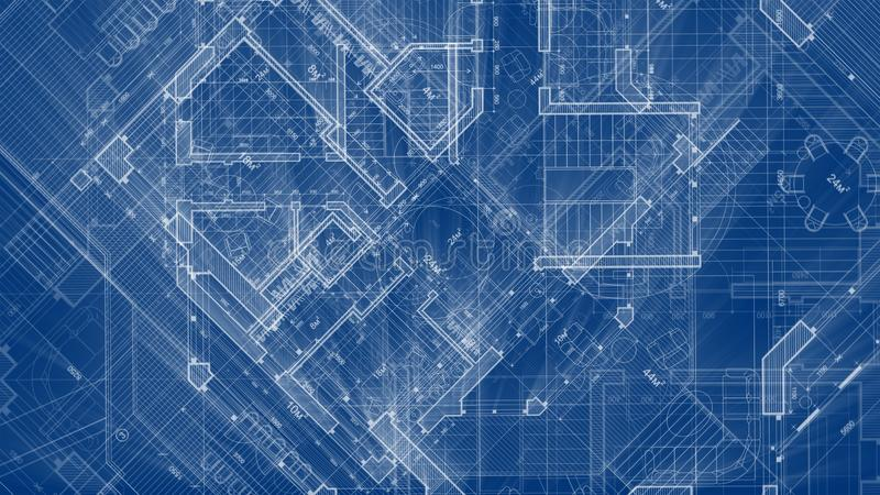 Architecture design: blueprint plan - illustration of a plan. Modern residential building / technology, industry, business concept illustration: real estate royalty free stock image