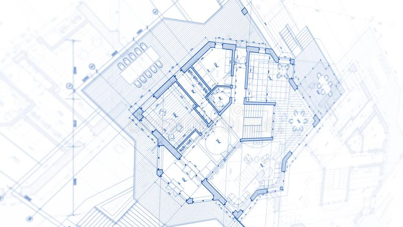 Architecture design: blueprint plan - illustration of a plan stock photography