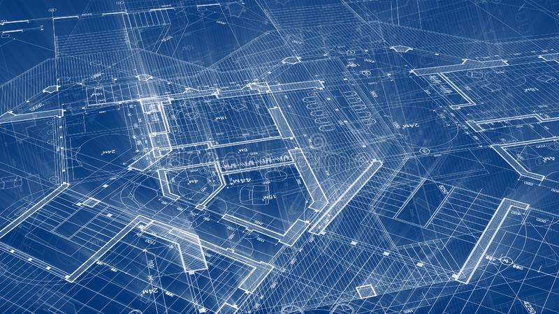 Architecture design: blueprint plan - illustration of a plan. Modern residential building / technology, industry, business concept illustration: real estate royalty free stock photo