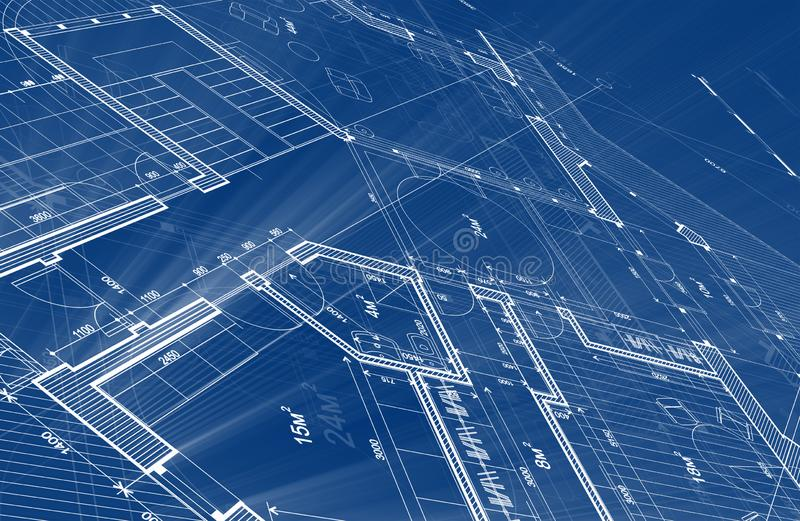 Architecture design: blueprint plan - illustration of a plan stock photo