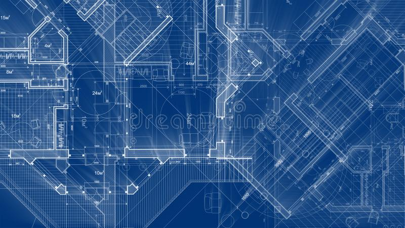 Architecture design: blueprint plan - illustration of a plan. Modern residential building / technology, industry, business concept illustration: real estate stock photo