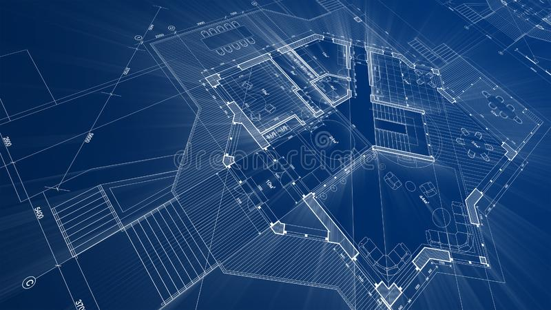 Architecture design: blueprint plan - illustration of a plan. Modern residential building / technology, industry, business concept illustration: real estate stock photography