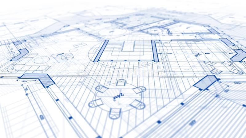 Architecture design: blueprint plan - illustration of a plan mod. Ern residential building / technology, industry, business concept illustration: real estate stock image