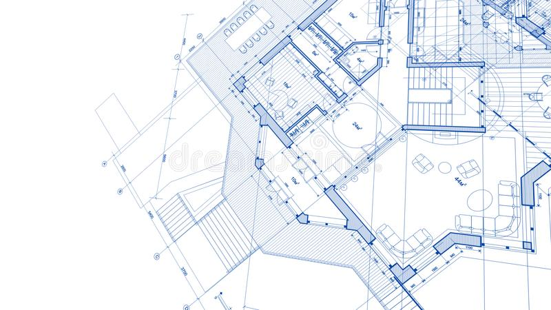 Architecture design: blueprint plan - illustration of a plan mod. Ern residential building / technology, industry, business concept illustration: real estate royalty free stock photo