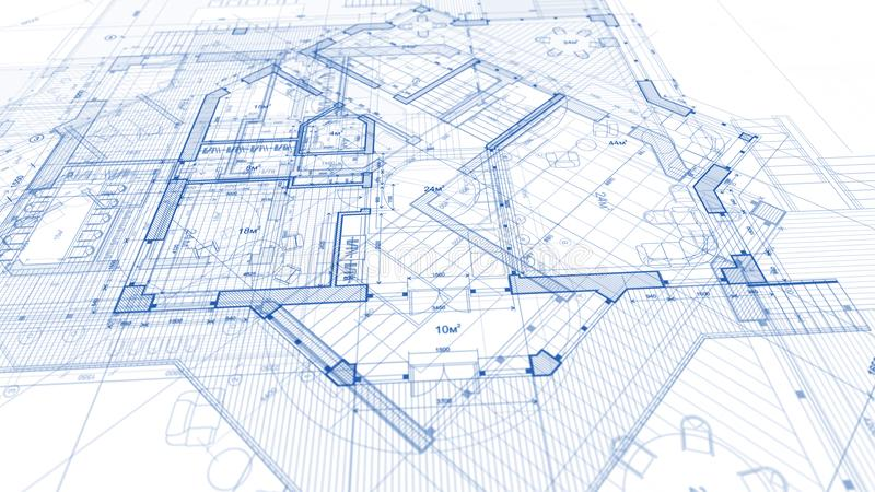 Architecture design: blueprint plan - illustration of a plan mod. Ern residential building / technology, industry, business concept illustration: real estate royalty free stock photos