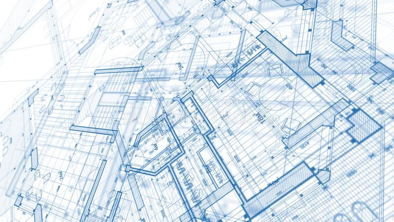 Architecture design: blueprint plan - illustration of a plan mod stock photos