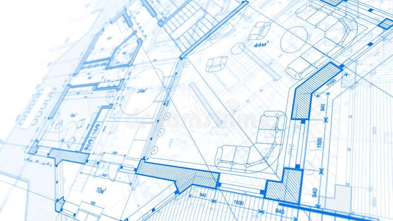 Architecture design: blueprint plan - illustration of a plan mod. Ern residential building / technology, industry, business concept illustration: real estate royalty free stock image