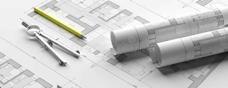 Residential building blueprint plans, banner. 3d illustration stock illustration